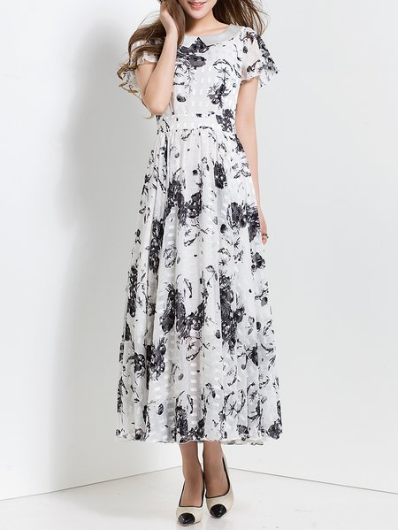 Swing Short Sleeve Beach Chiffon Folds Maxi Dress