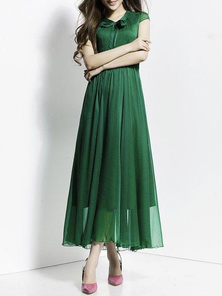 Green Crew Neck Elegant A-line Bow Maxi Dress