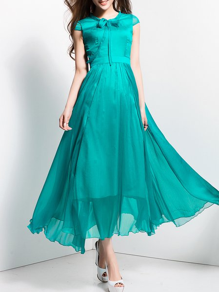 Beach Folds Short Sleeve Maxi Dress