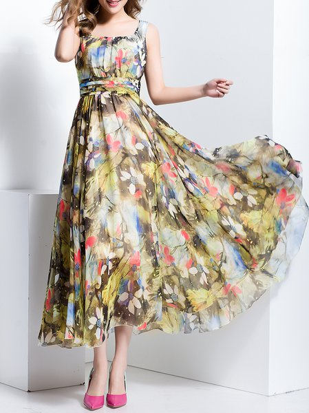 Multicolor Vintage Chiffon Maxi Dress
