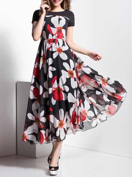 Black Short Sleeve Floral A-line Maxi Dress