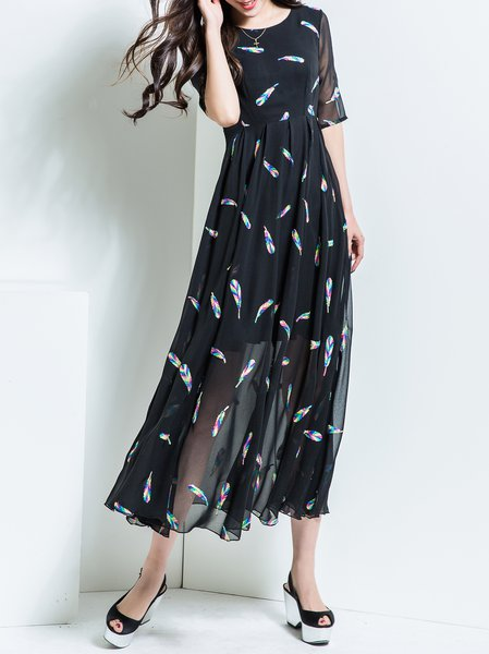 Plus Size Black Crew Neck Half Sleeve Chiffon Maxi Dress
