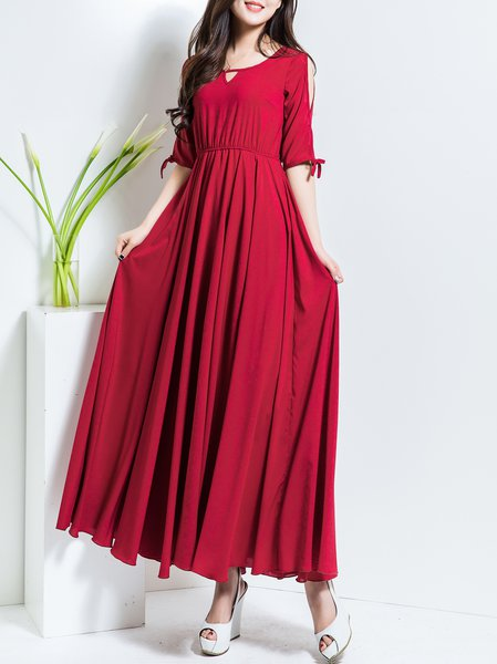 Red Half Sleeve Big Hem Dress A-line Maxi Dress
