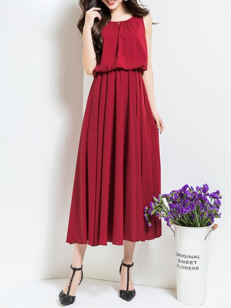 Red Casual Crew Neck Polyester Midi Dress