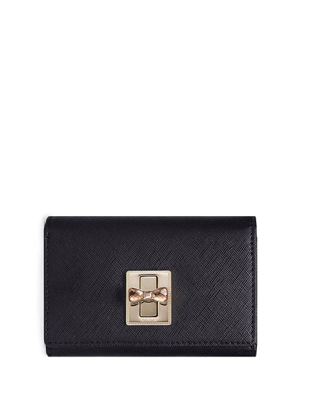 Black Twist Lock Cowhide Leather Casual Wallet