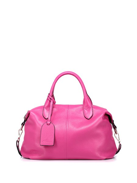 Fuchsia Medium Cowhide Leather Casual Satchel