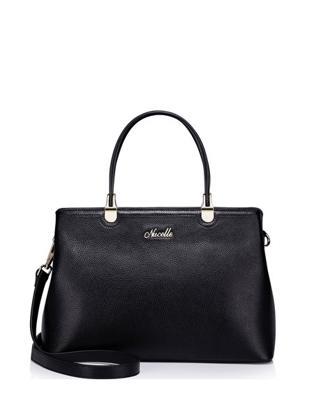 Black Zipper Cowhide Leather Satchel