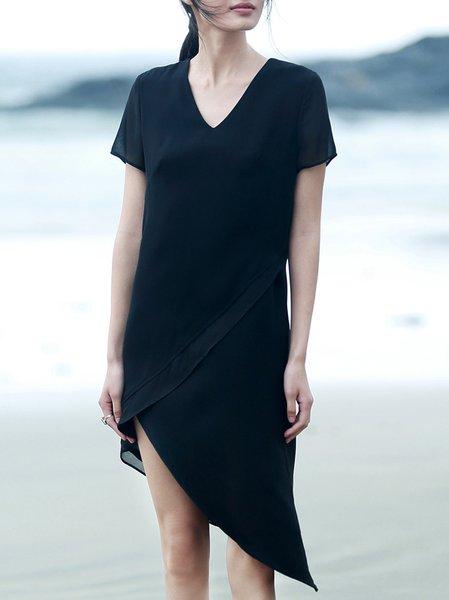 Short Sleeve Simple V Neck Polyester Midi Dress