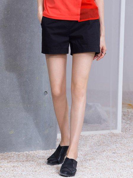 Black Plain Casual Shorts
