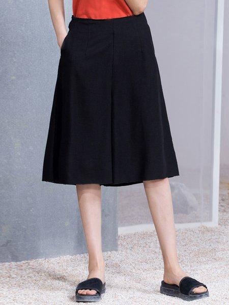 Black A-line Casual Viscose Wide Leg Pants