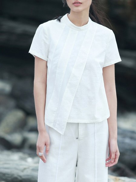 White Casual Asymmetrical T-Shirt