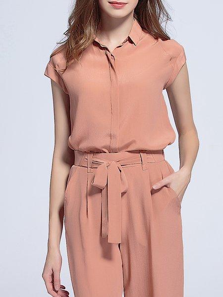 Simple Plain Silk Short Sleeve Blouse