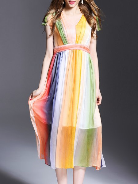 Multicolor Casual Dip-Dyed Midi Dress