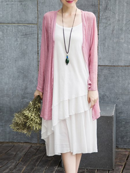 Two Piece Cotton-blend Long Sleeve Casual Midi Dress