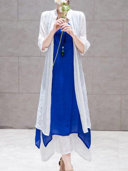 Two Piece Casual Crew Neck 3/4 Sleeve Midi Dress