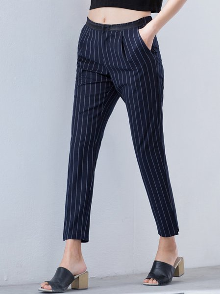 Dark Blue Casual H-line Pockets Straight Leg Pants