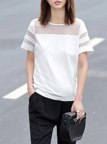 White Casual Plain Mesh Paneled Crew Neck T-Shirt