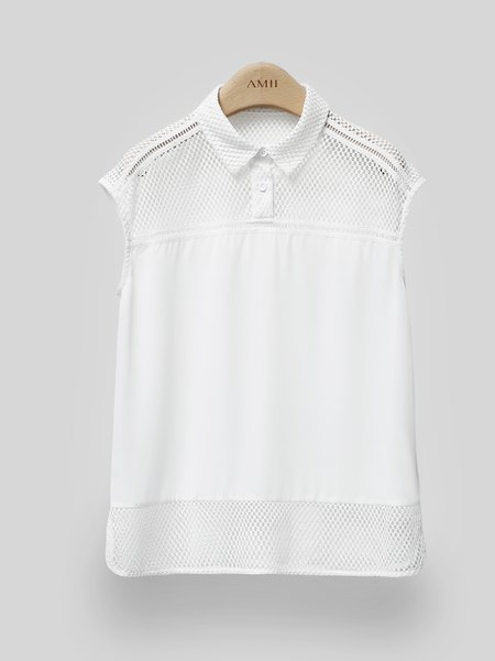 White H-line Cotton Sleeveless Blouse - StyleWe.com