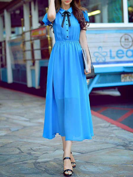 Blue Casual Plain Sheath Maxi Dress