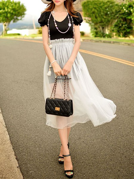 White Casual Shift Paneled Midi Skirt