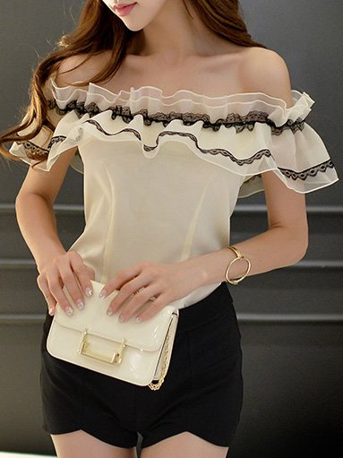 White Sleeveless Ruffled Blouse