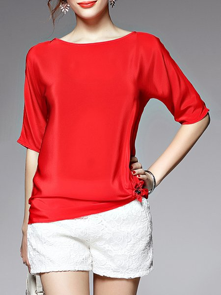Red Beaded Silk Half Sleeve Solid Blouse