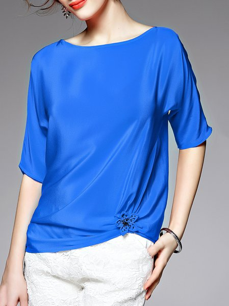 Blue Silk Crew Neck Asymmetrical Blouse