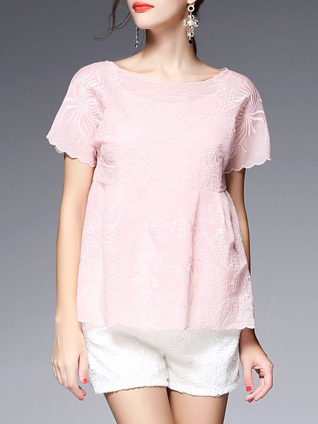 Pink Embroidered Short Sleeve Two Piece Blouse