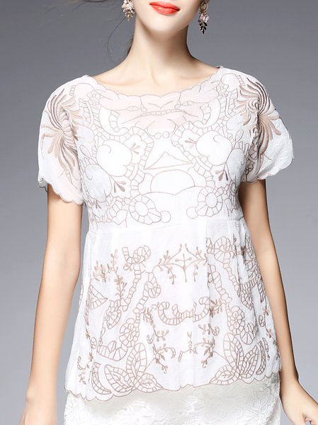 White Casual Embroidered Short Sleeve Two Piece Blouse