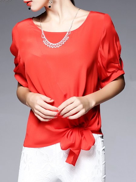 Silk Simple Half Sleeve Plain Blouse