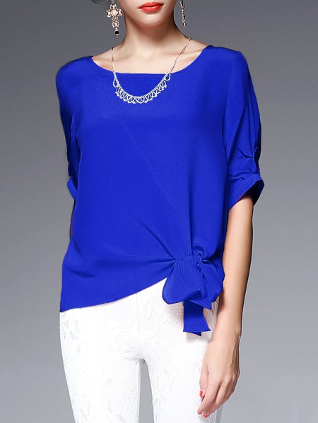 Simple Silk Plain Bow Half Sleeve H-line Blouse