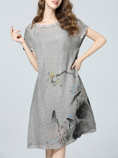 Gray Hand-drawn Short Sleeve Floral Midi Dress with Cami
