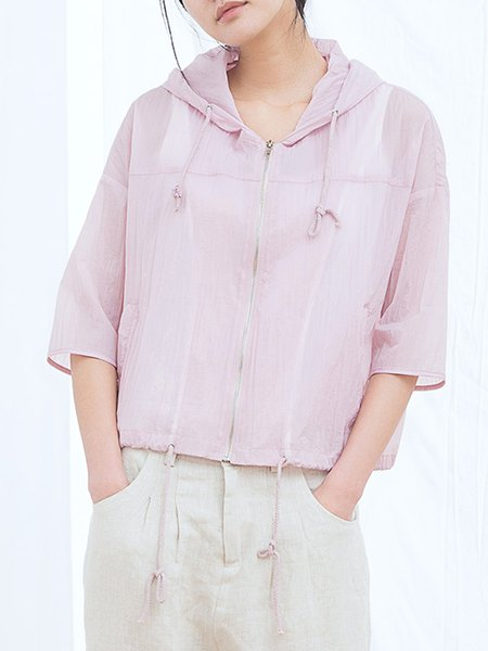 Pink Shirred Casual Plain Cropped Jacket