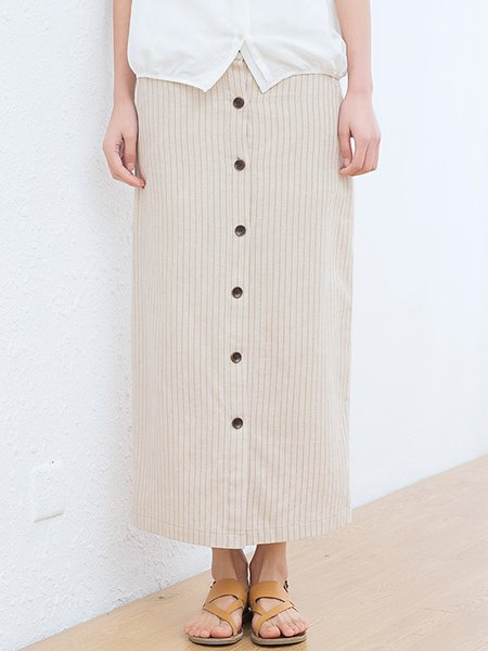 Beige Stripes Cotton Casual H-line Maxi Skirt