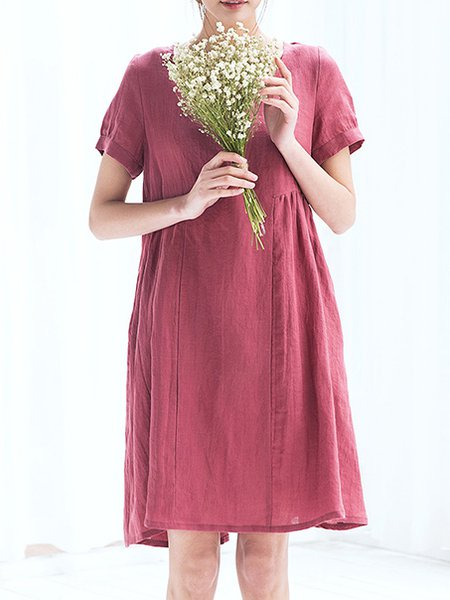 Folds Simple Linen Short Sleeve A-line Midi Dress