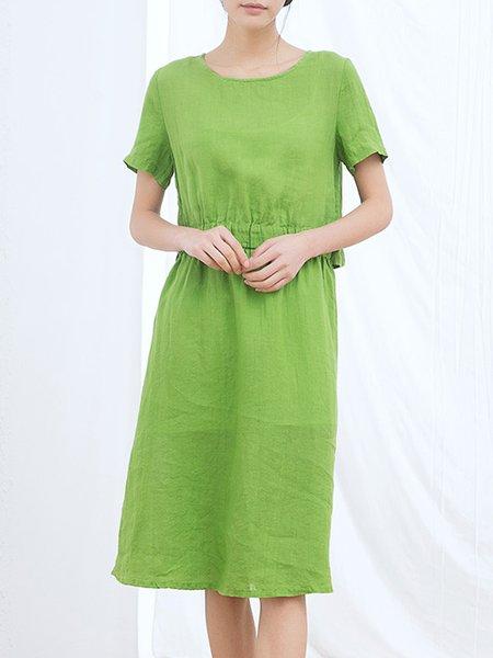 Green Crew Neck Linen Casual Midi Dress