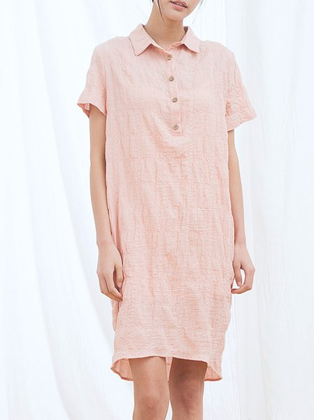 Cotton Casual Shirred Short Sleeve Mini Dress