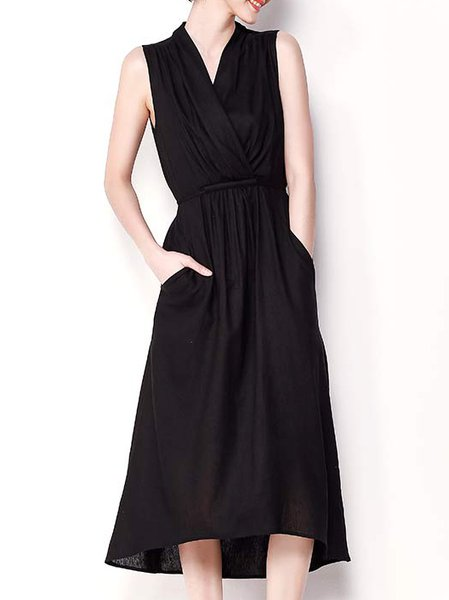 Black A-line V Neck Casual Plain Midi Dress