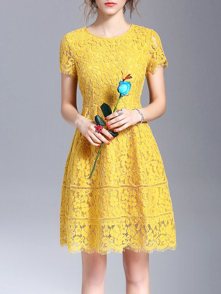 Yellow Short Sleeve Crew Neck Mini Dress