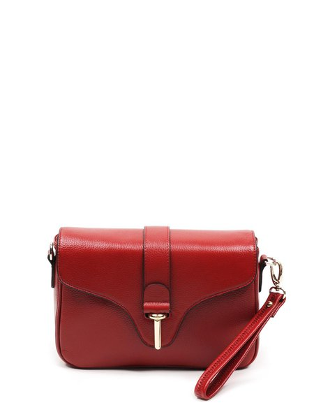 Burgundy Solid Cowhide Leather Casual Tuck-in Flap Crossbody Bag