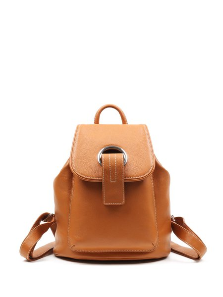 Brown Casual Cowhide Leather Backpack