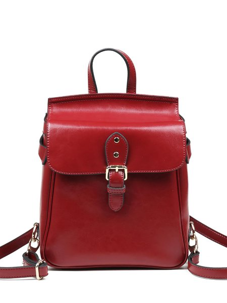 Small Magnetic Cowhide Leather Backpack