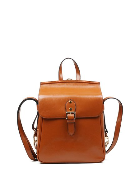 Cowhide Leather Small Magnetic Backpack