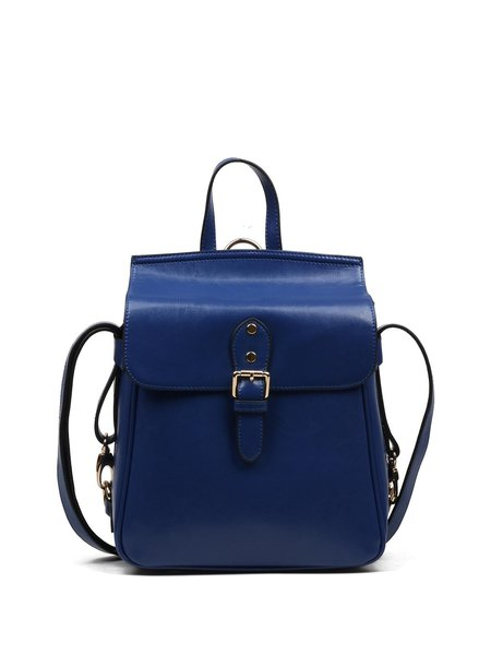 Royal Blue Magnetic Retro Solid Cowhide Leather Backpack