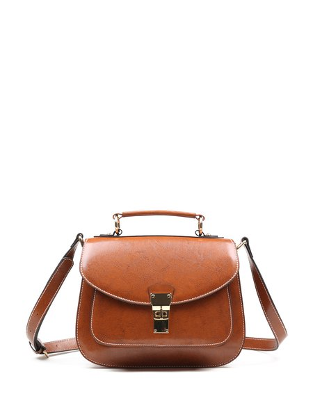 Brown Retro Cowhide Leather Twist Lock Satchel