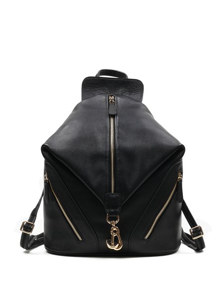 Black Large Statement Cowhide Leather Backpack
