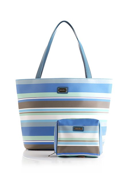 Blue Zipper PU Tote