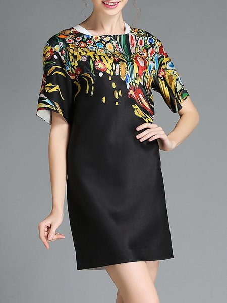 Black Short Sleeve Crew Neck Printed Floral Mini Dress