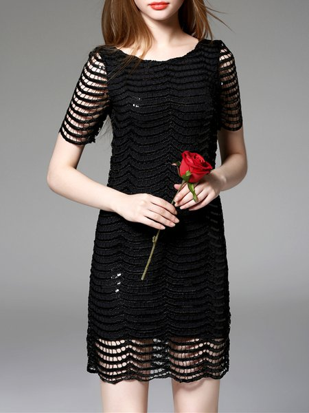 Black Sexy Crew Neck Embellished Plain Mini Dress