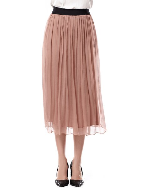 Apricot Casual A-line Midi Skirt